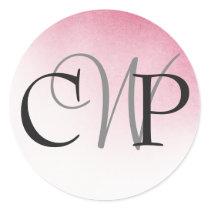 Pink Ombre Wedding Monogram stickers