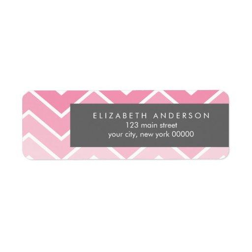 Pink Ombre Zig Zag Chevron Pattern Return Address Labels
