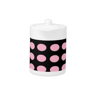 Pink on Black Dots Teapot