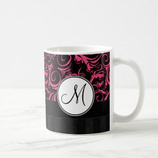 Pink on Black Floral Wisps, Stripes with Monogram Coffee Mug