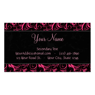 Pink on Black Floral Wisps, Stripes with Monogram Double-Sided Standard Business Cards (Pack Of 100)