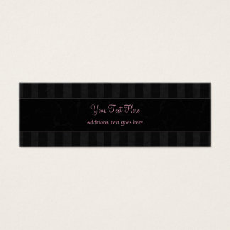 Pink on Black Floral Wisps, Stripes with Monogram Mini Business Card