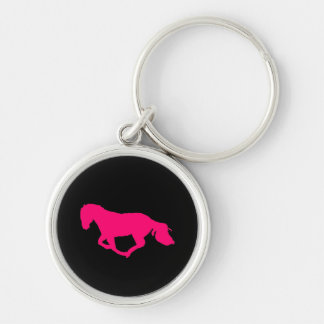 Pink On Black Horse Silhouette Key Chain