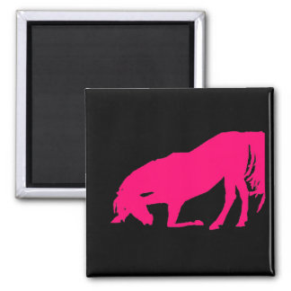 Pink On Black Horse Silhouette Magnet