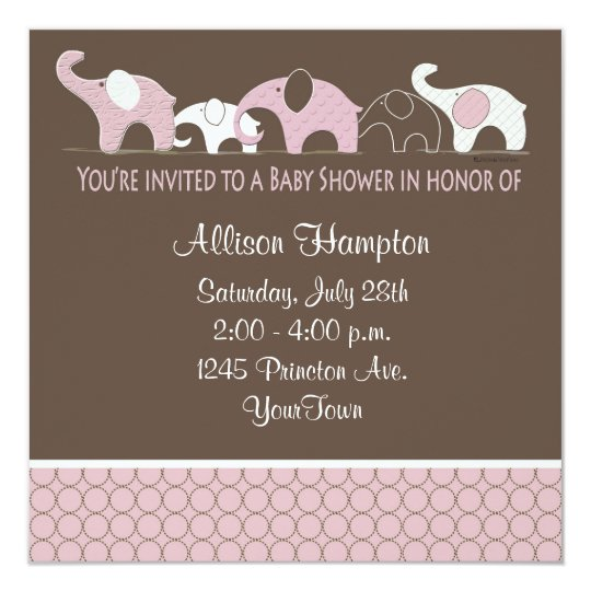 Pink on Brown Elephant Baby Shower Invitations