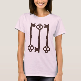 Pink on brown old keys cute fashion T-Shirt