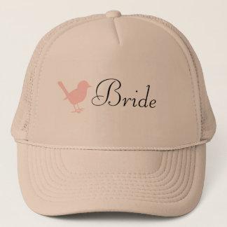 pink on cream bird trucker hat