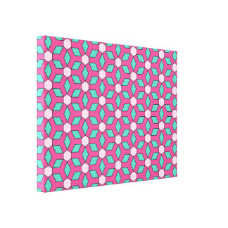 Pink on Green II Tiled Hex Canvas