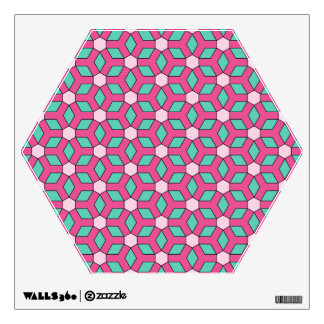 Pink on Green II Tiled Hex Wall Decal