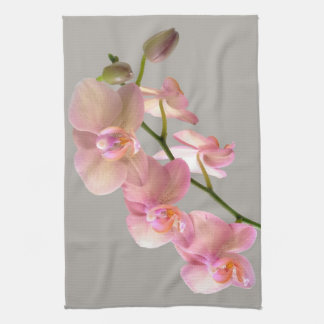 Pink on Grey Orchid MoJo Kitchen Towel