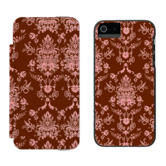 Pink on Maroon Damask iPhone SE/5/5s Wallet Case