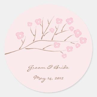 Pink on Pink Cherry Blossoms Wedding Classic Round Sticker