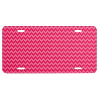 Pink on Pink Chevron Stripe License Plate