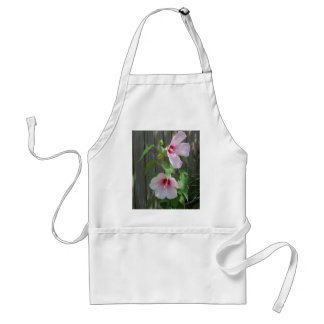 Pink on pink duo of hibiscus flowers adult apron