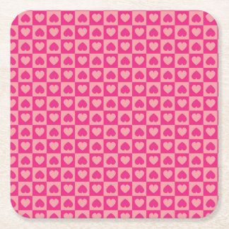 Pink on Pink Heart Design Square Paper Coaster