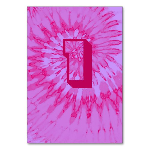 Pink on Pink Spiral Tie Dye Wedding Table One Table Number