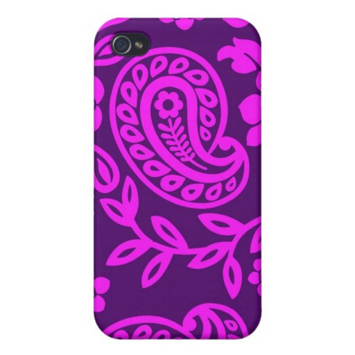 pink on purple paisley iPhone 4 case