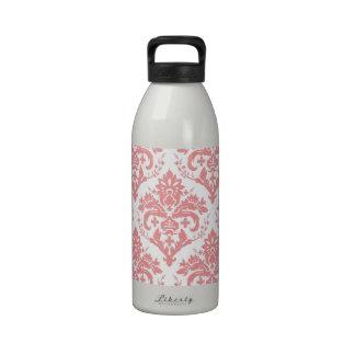 Pink on White Damask Water Bottles