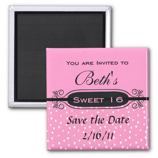 Pink on White Polka Dot Sweet 16 Party Invitation 2 Inch Square Magnet