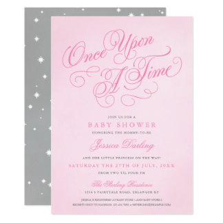 Pink Once Upon A Time Baby Shower Invitations