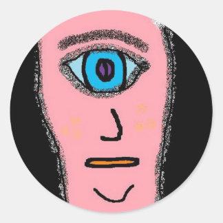 PINK ONE EYE MAN (2) ROUND STICKER