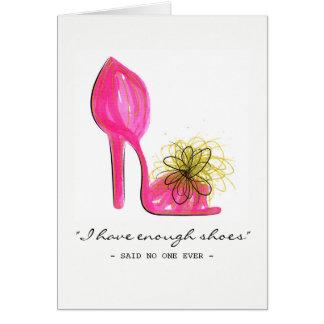 Pink one heel card