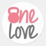 """Pink """"One Love"""" Round Sticker"""