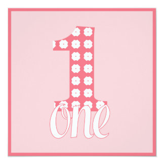 Pink One Party Invitation