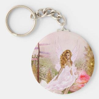 Pink Opal Basic Round Button Keychain