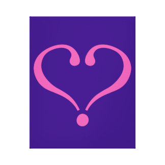 Pink open heart in purple for Valentine's Day love Stretched Canvas Print
