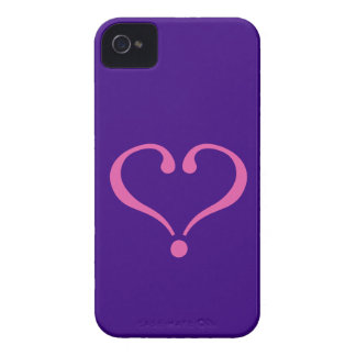 Pink open heart in purple for Valentine's Day love iPhone 4 Case