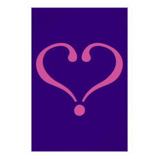 Pink open heart in purple for Valentine's Day love Print