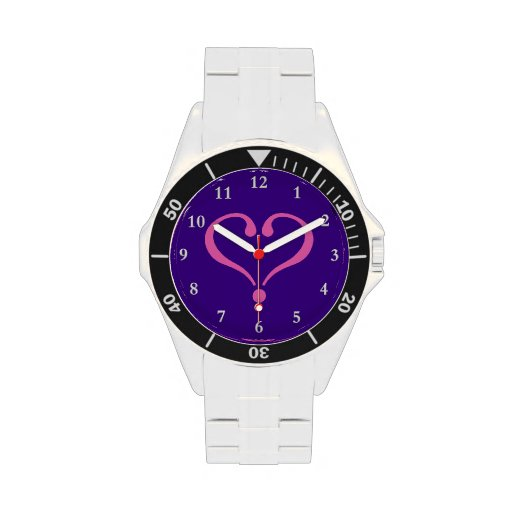 Pink open heart in purple for Valentine's Day love Relojes