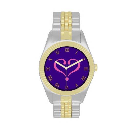 Pink open heart in purple for Valentine's Day love Relojes De Pulsera
