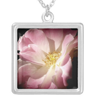 Pink Open Rose Square Pendant Necklace