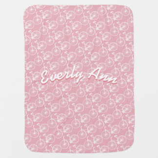 Pink or Any Color Vintage Bicycle Baby Blanket