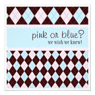Pink or Blue Argyle Neutral Boy Girl  Baby Shower Card