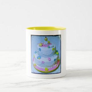 Pink or Blue Baby Cake Two-Tone Coffee Mug