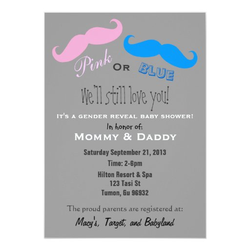 Pink or Blue Baby Reveal Invite