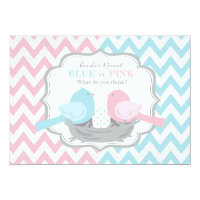 Pink or Blue Birds & Chevron Gender Reveal 5x7 Paper Invitation Card