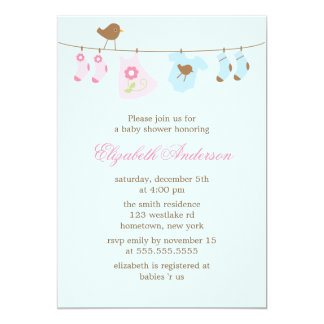 Pink or Blue? Clothesline Baby Shower 5x7 Paper Invitation Card