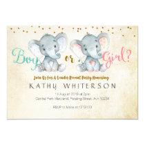Pink or Blue Elephant gender reveal Invitation