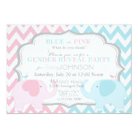 Pink or Blue Elephants & Chevron Gender Reveal 5x7 Paper Invitation Card