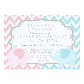 "Pink or Blue Elephants & Chevron Gender Reveal 5"" X 7"" Invitation Card"