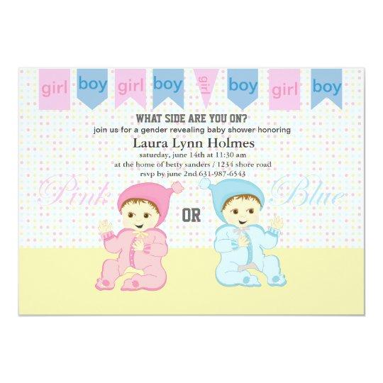 Pink or blue gender revealing baby shower invites zazzle pink or blue gender revealing baby shower invites filmwisefo