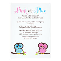 Pink or Blue? Owls Gender Reveal Party Card