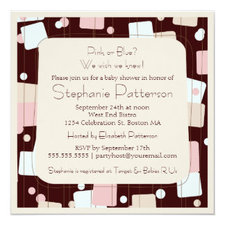 Pink or Blue Retro Baby Shower Invitation