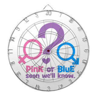 Pink or Blue, Soon We'll Know Dartboard With Darts