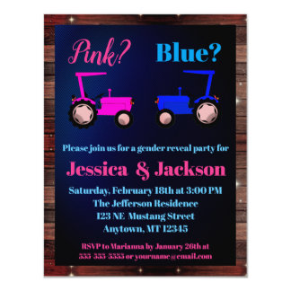 """""""Pink or Blue"""" Tractors Farm Style Gender Reveal Invitation"""