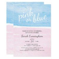 Pink or Blue Watercolor Gender Reveal Baby Shower Card